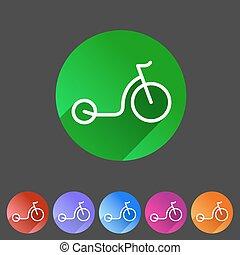 megrúg, bicikli, roller, lakás, ikon, háló, aláír, jelkép, jel, címke
