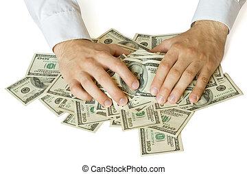 megragad, pénz, kapzsi, kézbesít
