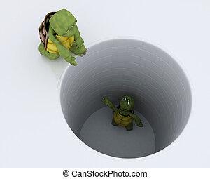 megragadt, kilyukaszt, metafora, teknősbéka