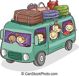megrakott, poggyász, furgon, emberek