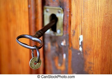 megrekedt, öreg, woth, kulcs, pesetas, ajtó, érme