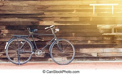 megrekedt, bicikli, fából való, szüret, gyár, parkolt, háttér, öreg, versenyzés