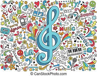 megszokott, doodles, hangjegy, zene, hangjegykulcs