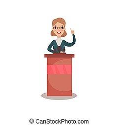 megtárgyal, nő, politikus, ügy, betű, tribün, vagy, politikai, ábra, beszélő, kihallgatás, vektor, lejtő, általános beszél, kilátás