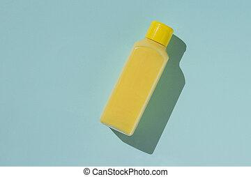 megtöltött, szappan, folyékony, palack, háttér., sárga, kék