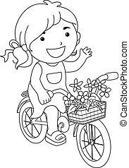 megtölt rajzóra, kölyök, leány, virág, bicikli elpirul, oldal