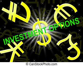 megtakarítás, ábra, opciók, jelentés, kiválasztások, befektetés, 3