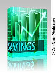 megtakarítás, bevételek, doboz, csomag