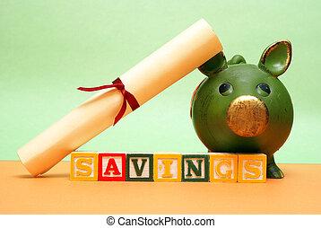 megtakarítás, oktatás