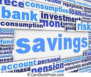 megtakarítás, szlogen, fogalmi, tervezés