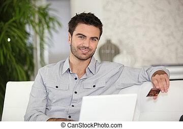 megvásárol, online, ember, gyártás