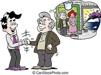 megvesz, öreg, autó, oda, ábra, vektor, bír, autó, új, karikatúra, ember