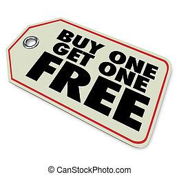 megvesz, beszerez, ár, kiárusítás, szabad, egy, címke, előléptetés, különleges