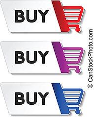 megvesz, bevásárlás, gombol, -, kordé, cikk, vektor
