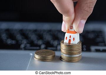 megvesz, megmentés, fogalom, pénz, house., ügy, megtakarítás, felnövés