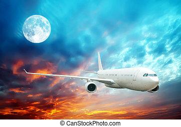 megvilágít, ég slicc, nighttime, hold, magas, repülőgép