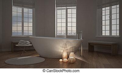 megvilágít, gyertya, belső, egy, minimalista, fürdőszoba, ásványvízforrás, zen, belső tervezés