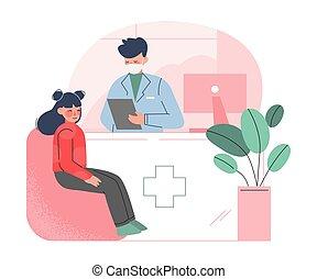 megvizsgál, bánásmód, gyermekorvos, orvos, egészség, ábra, klinika, csörömpölés, fogalom, karikatúra, vektor, leány, orvosi