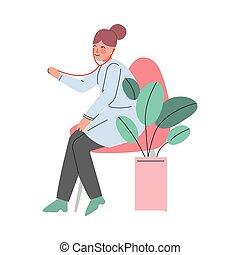 megvizsgál, bánásmód, gyermekorvos, orvos, egészség, ábra, klinika, női, sztetoszkóp, fogalom, karikatúra, vektor, türelmes, orvosi