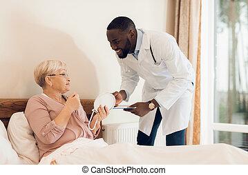 megvizsgál, gondozás, orvos, öregedő, türelmes, home.