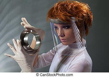 megvizsgál, nő, fém, részletez, futuristic
