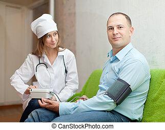 megvizsgál, nő, türelmes, orvos