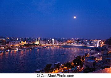 Megyeri Bridge at night panorama view in Budapest
