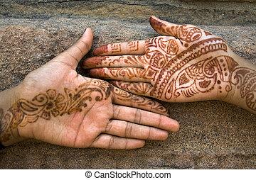 Mehandi Art on Palm - Mehandi art, painting on hand and feet...