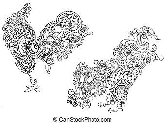mehendi, estilo, dos, gallos