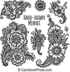mehendi, hand-drawn, vector, conjunto, flores