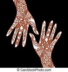 Mehendi Hands On Black Background