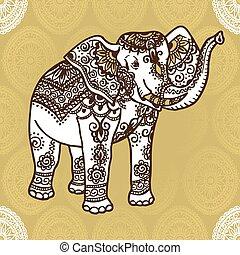 mehendi, ornamento, elefante