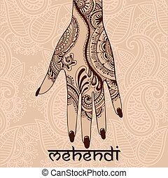 mehendi, woman`s, desenho, ilustração, mão