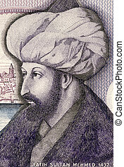 Mehmed the Conqueror (1432-1481) on 1000 Lira 1986 Banknote from Turkey. Sultan of the Ottoman Empire during 1444-1446 and 1451-1581.