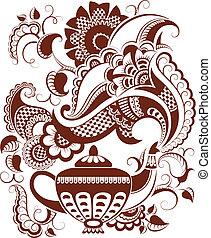 mehndi, 植物, 茶壺, 黑色半面畫像