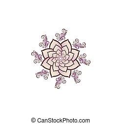 Mehndi flower with Sahasrara crown chakra symbol for Henna drawing and tattoo