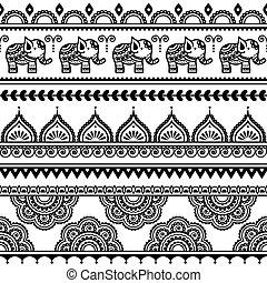 mehndi, indiai, motívum, seamless