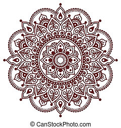 Mehndi, Indian Henna brown tattoo p - Vector ornament -...