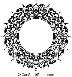 Mehndi, Indian Henna pattern - Vector ornament - orient...