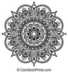 Mehndi, Indian Henna tattoo pattern - Vector ornament -...