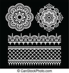Mehndi, Indian Henna tattoo white s - Vector ornament -...