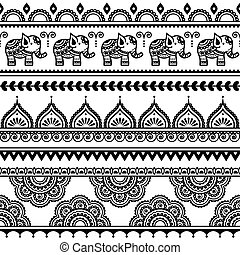 Mehndi, Indian seamless pattern - vector ornament - orient...