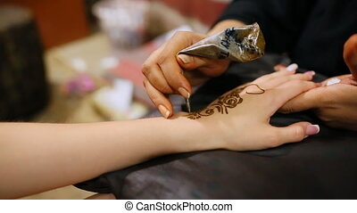 Mehndi. Master makes henna pattern on model's hand.