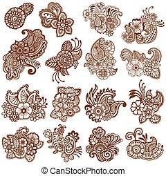 mehndi, patterns., design.