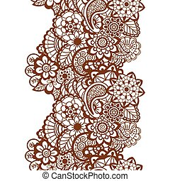 Mehndi ribbon. Paisley design.