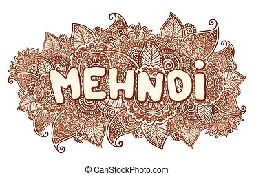Mehndi sigh on floral henna tattoo style flowers background...