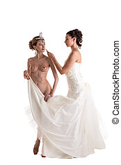 Mehndi. Studio shot of sexy modern brides, isolated on white