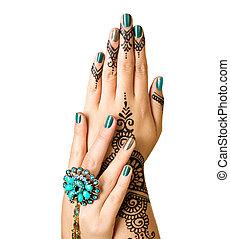 mehndi, tatuagem, isolado, ligado, white., mulher, mãos, com, pretas, tattoo henna