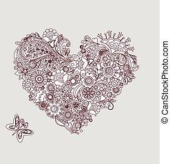 Mehndi vintage heart shape