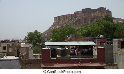 Mehrangarh Fort viewed from a rooftop in Jodhpur - View of...